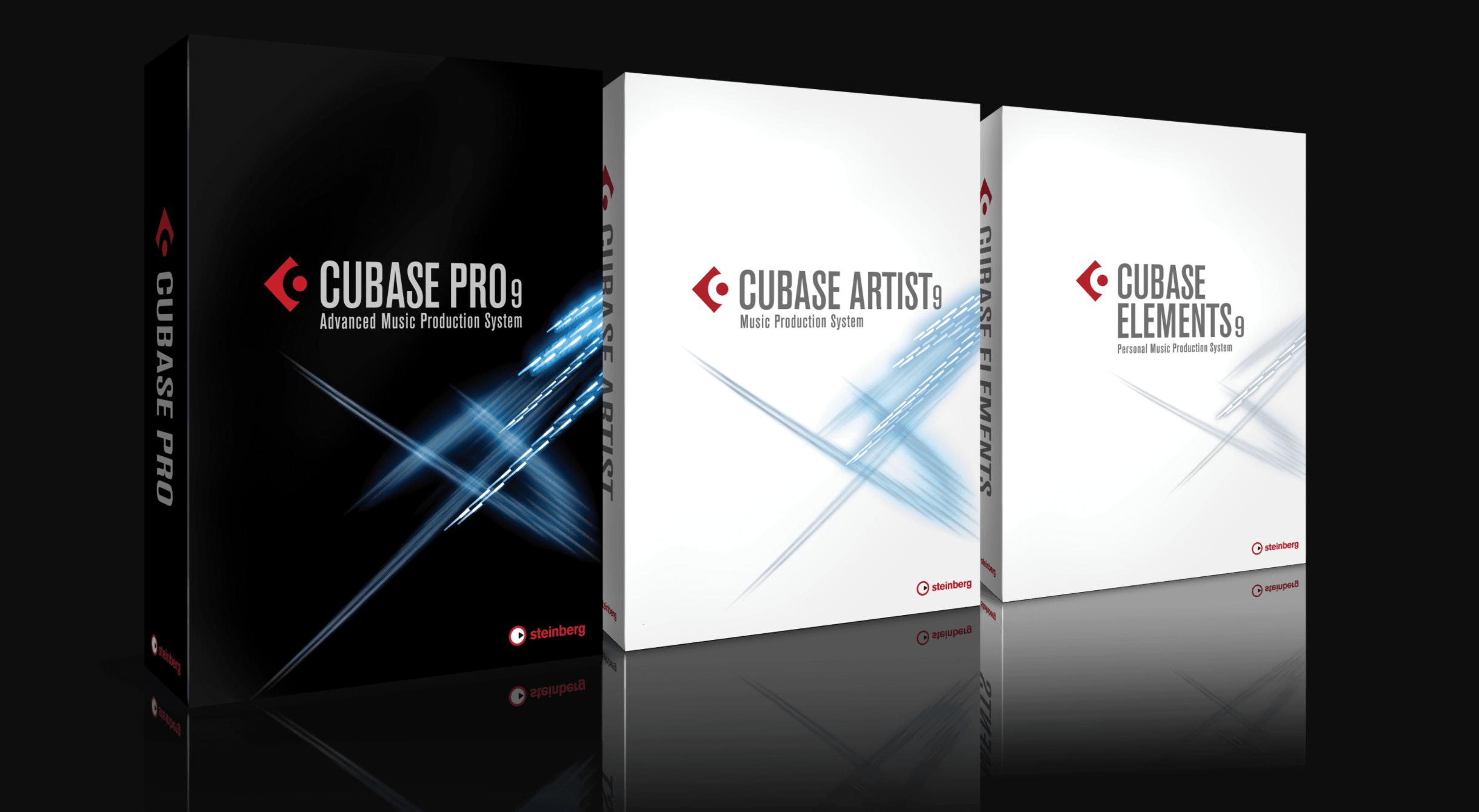 Cajas de Cubase Pro 9, Cubase Artist 9 y Cubase Elements 9