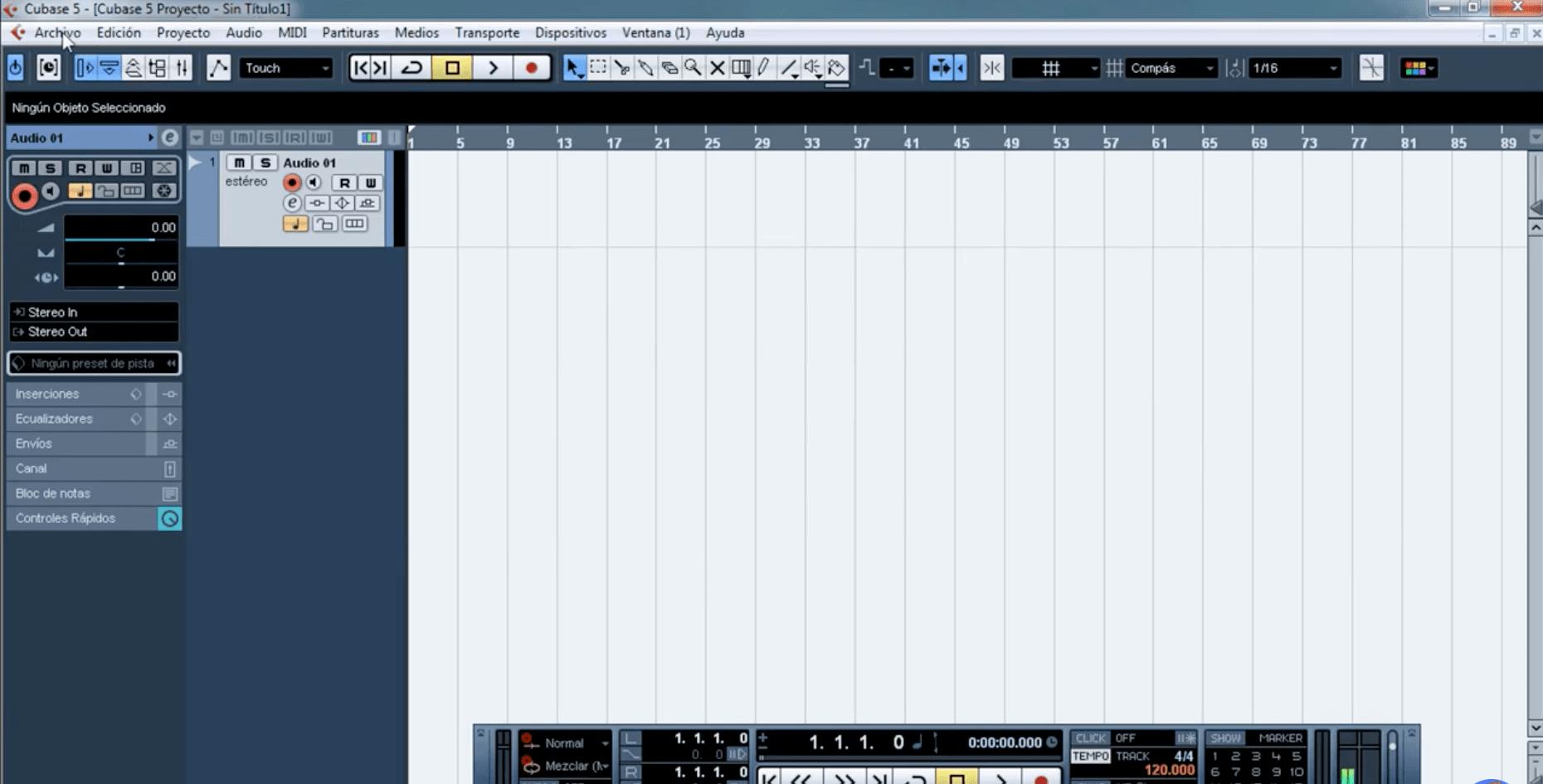 Captura de pantalla de Cubase 5