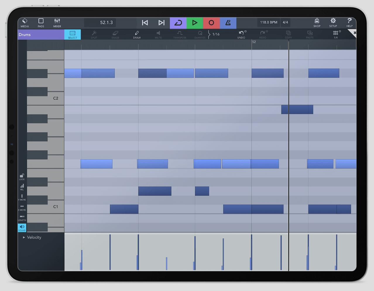 Cubasis 3 en iPad - Editor MIDI