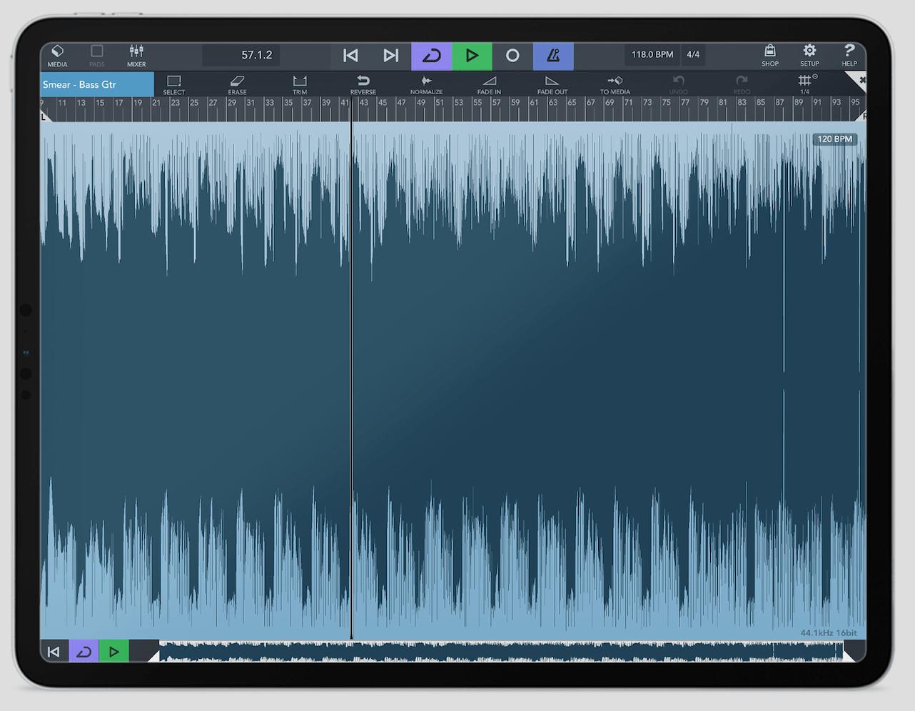 Cubasis 3 en iPad - Editor de audio