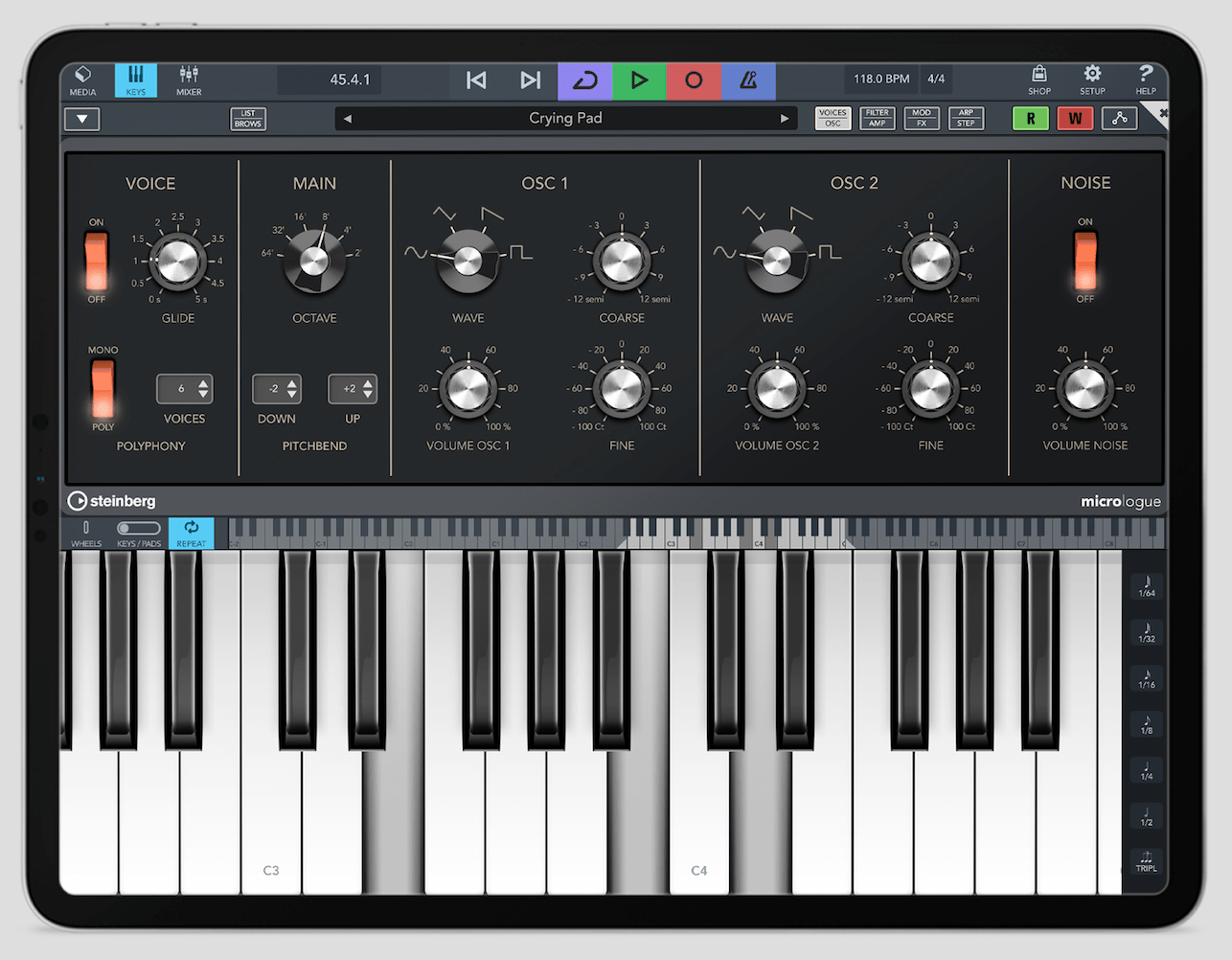 Cubasis 3 en iPad - Micrologue con teclado