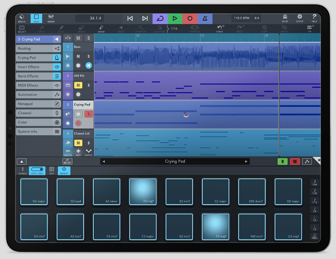 Cubasis 3 en iPad - Ventana de arreglos con Chord Pad