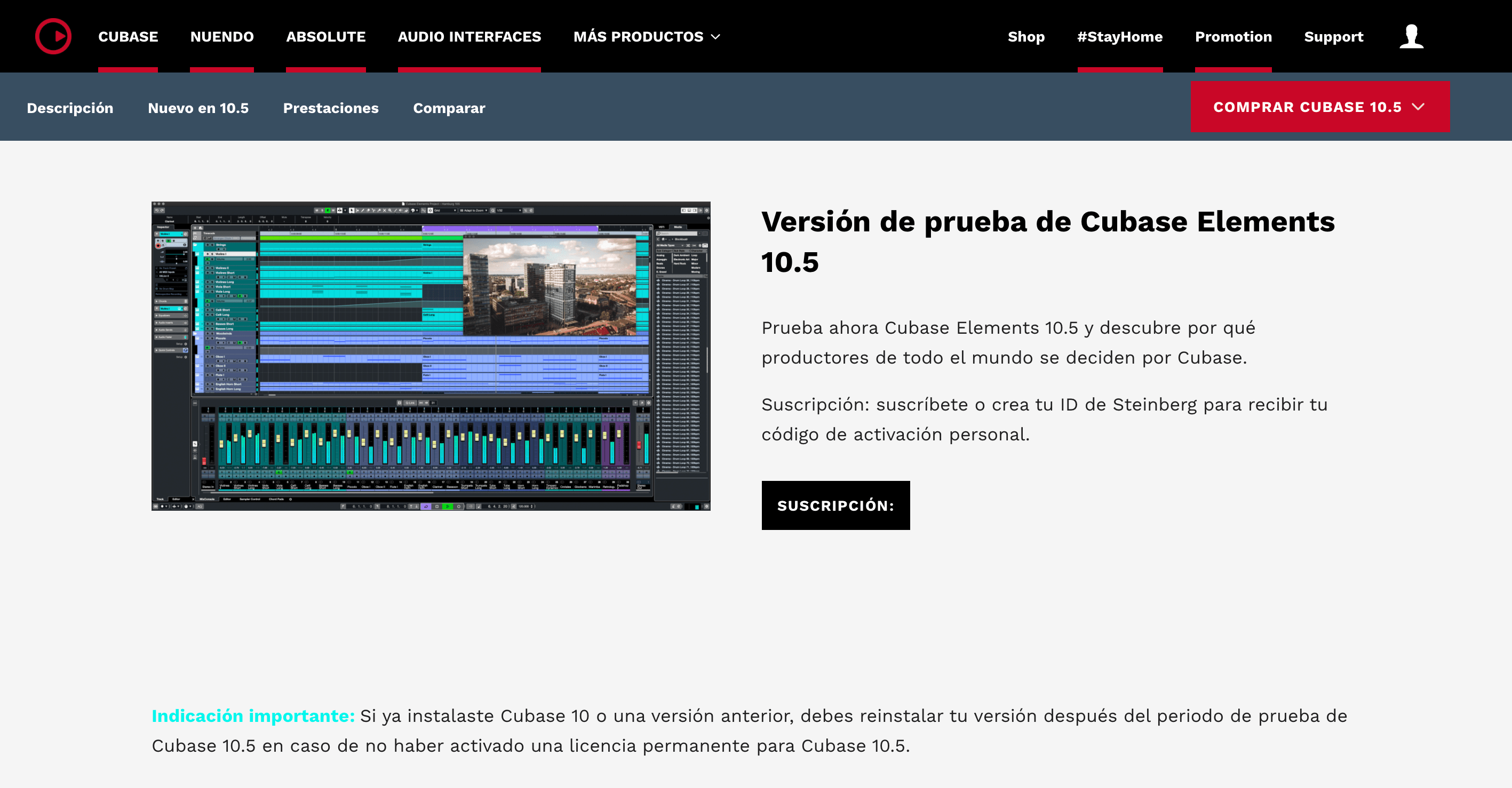 Descargar Cubase 10.5 gratis - versión de prueba
